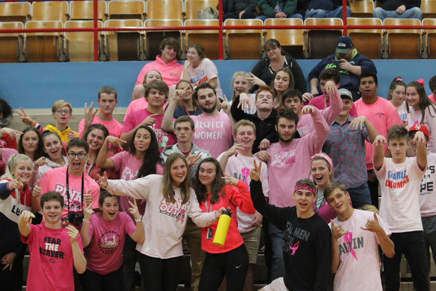 The Nasty Nation brings out their pink at the annual Pink Out volleyball game  Due to the rain, photos of the Pink Out football game were unavailable.
