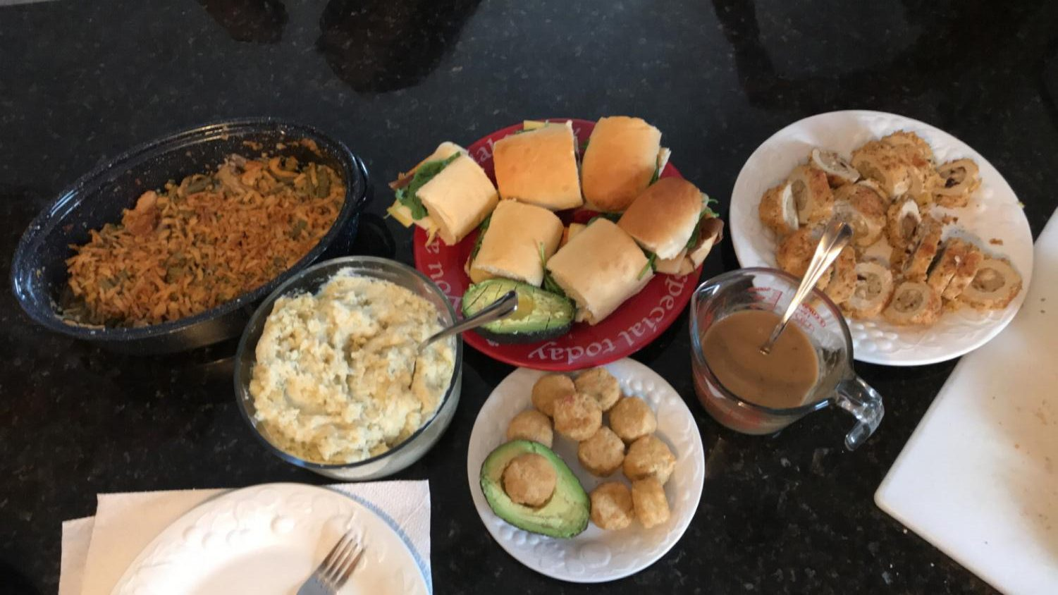 Friendsgiving dishes included a green bean casserole, sandwiches, garlic mashed potatoes, and much more