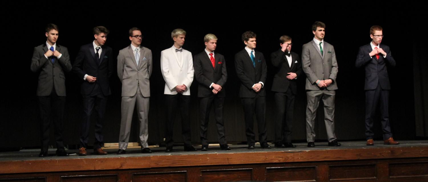 Pageant Contestants prepare for the Question/Answer session.  From Left - Sam Noel, Jack Fisher, Shane Arnold, Connor Sindt, Jacob Sindt, Jared Weber, Ben Cook, Nick Kubitz, and Evan Wille. Kubitz ultimately won the competition.