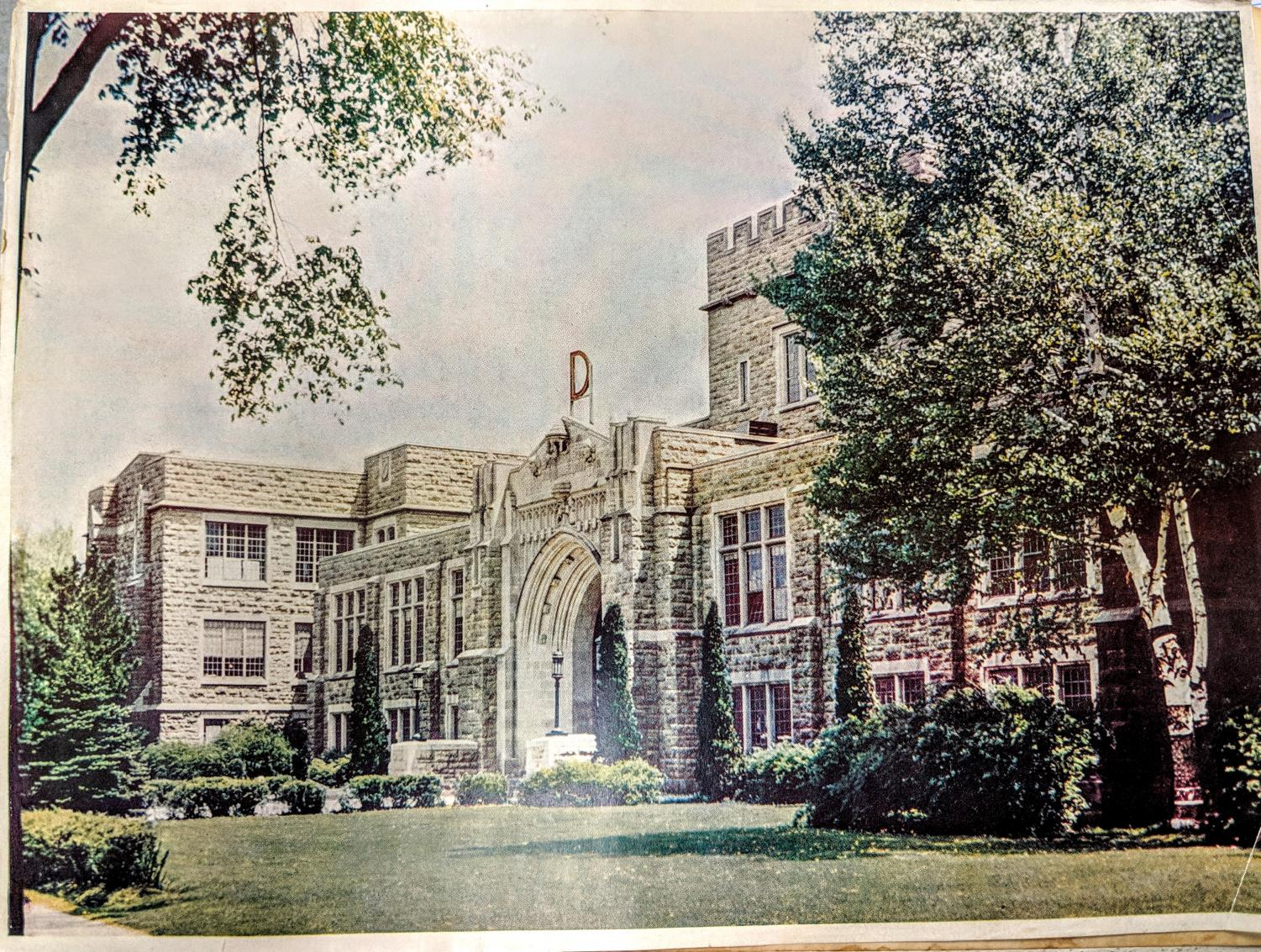 Dubuque Senior High School as seen in the 1947 Echo yearbook. Notice the