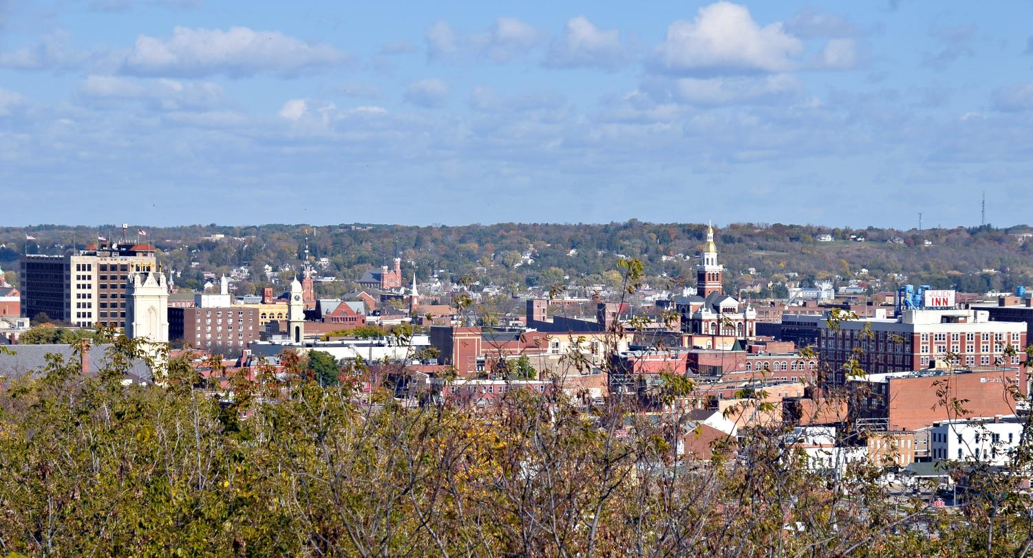A view of downtown from the bluff