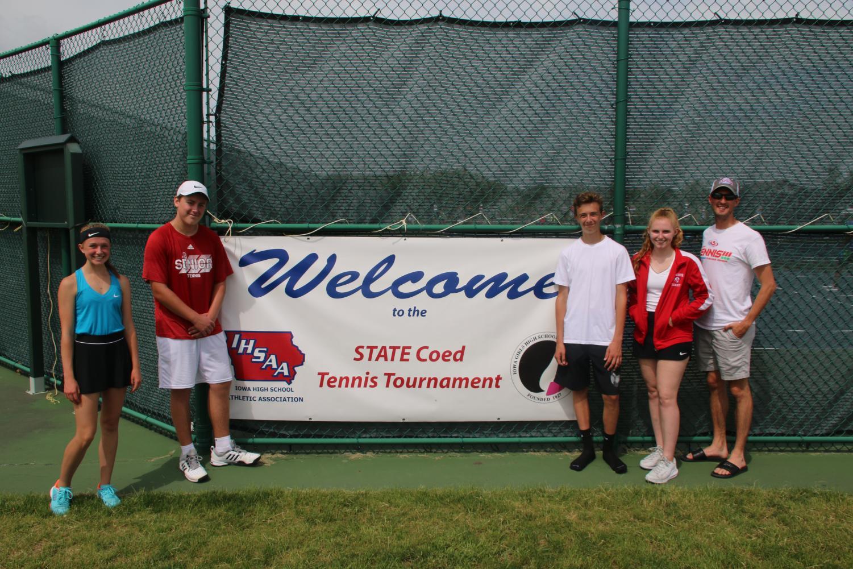 Riley O'Donnell, Josh Husemann, Dylan Fair, Natalie Kaiser, and Coach Chris Miller at the State Co-Ed Tennis Meet