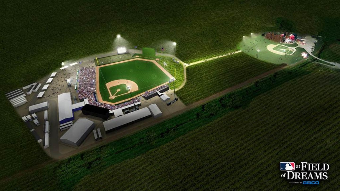 A plan for the new stadium design at the Field of Dreams site in Dyersville, Iowa. Image from Major League Baseball