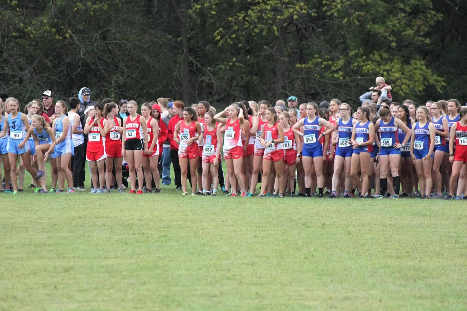 Teams line up for a meet at Luther College in Decorah, Iowa