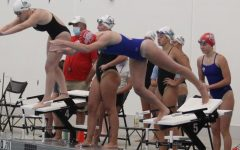 Tabitha Monahan dives into the pool to start her leg of the 400 Freestyle Relay against Waterloo West earlier this year