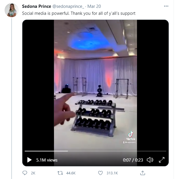 A screenshot Sedona Prince's video showing off the new weight room facilities after inequalities of the NCAA tournament came to light
